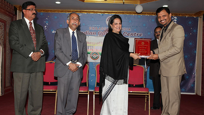 Receiving Certificate of Appreciation for the Outstanding Contribution to Indian Community from Honorable Ambassador of India in Qatar ,year 2011.
